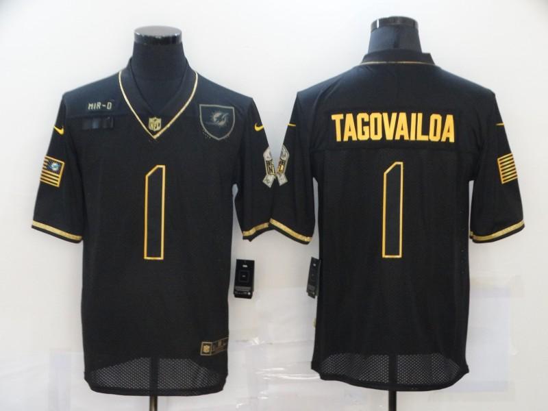 Nike Dolphins 1 Tua Tagovailoa Black Gold 2020 Salute To Service Limited Jersey