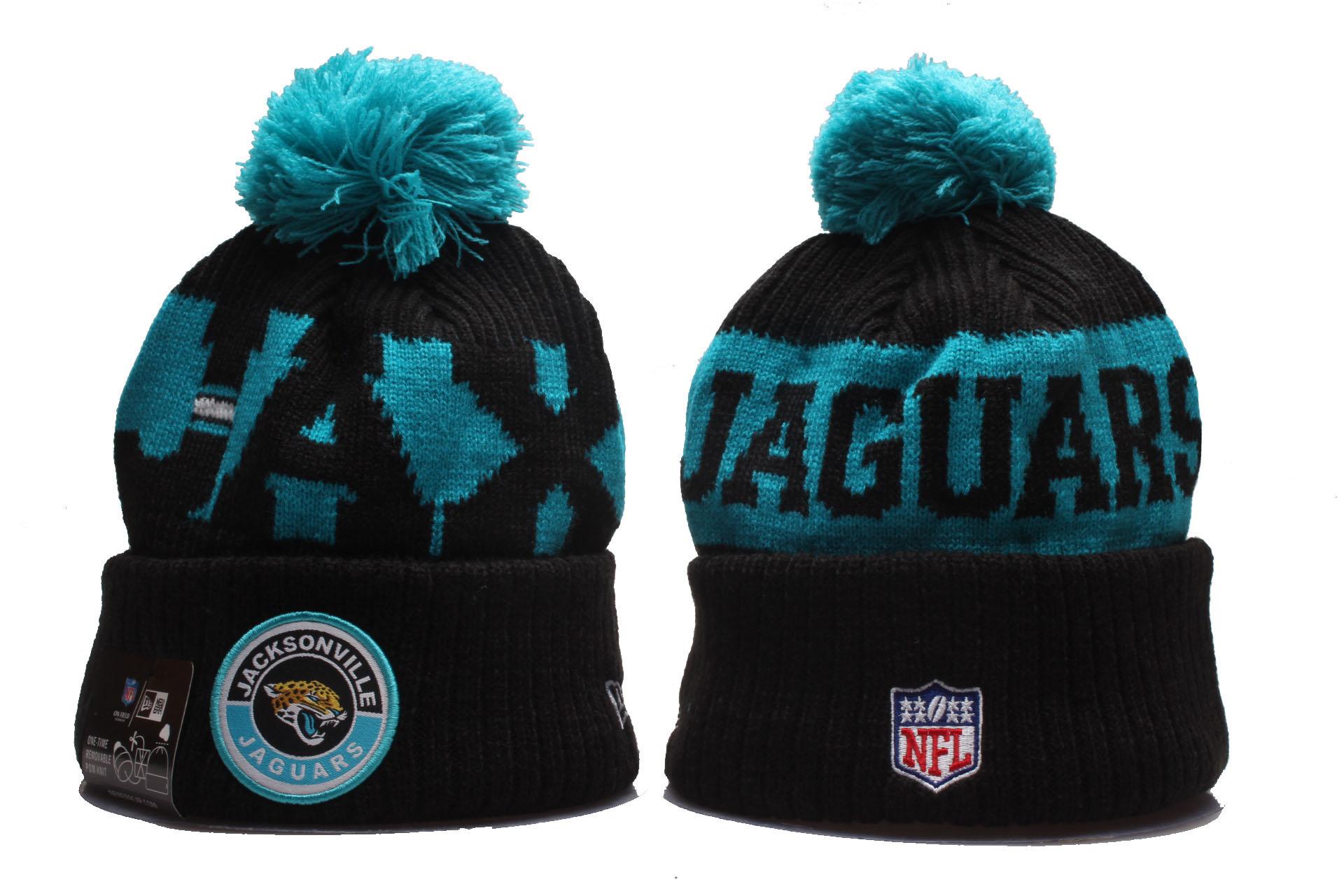 Jaguars Team Logo Black 2020 NFL Sideline Pom Cuffed Knit Hat YP