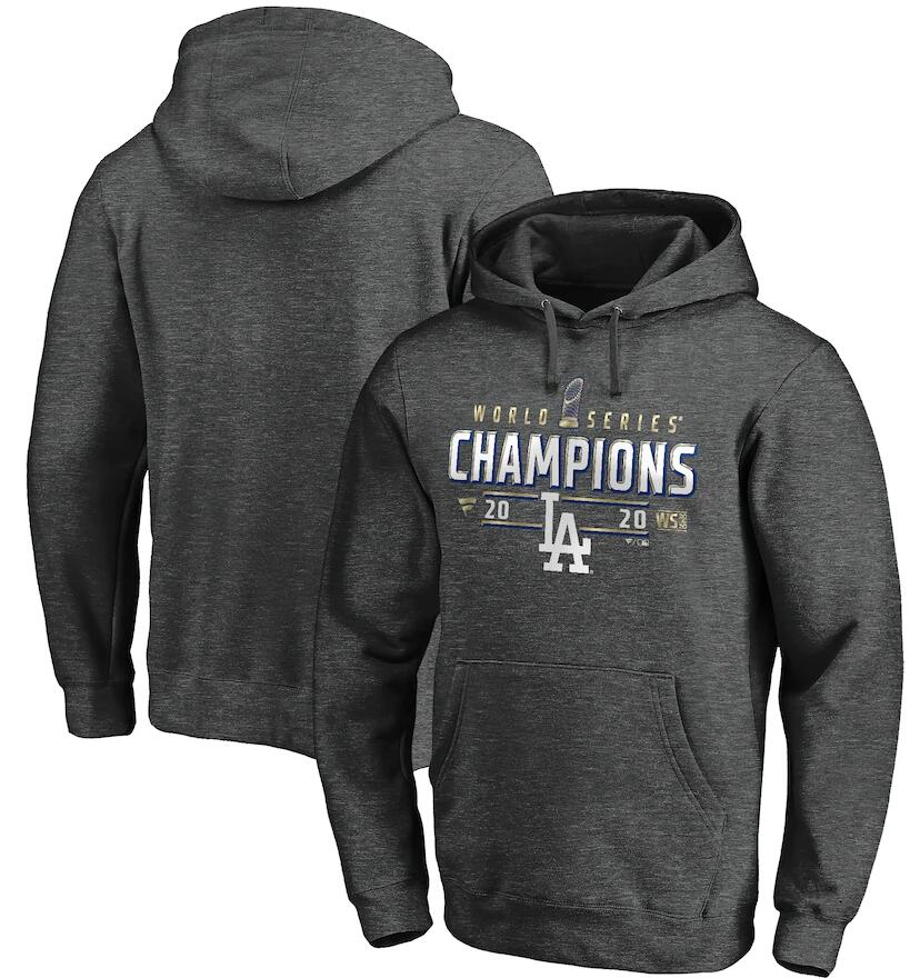 Men's Los Angeles Dodgers Fanatics Branded Charcoal 2020 World Series Champions Locker Room Pullover Hoodie