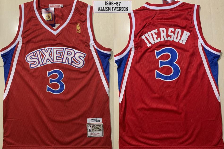 76ers 3 Allen Iverson Red 1996-1997 Hardwood Classics Jersey