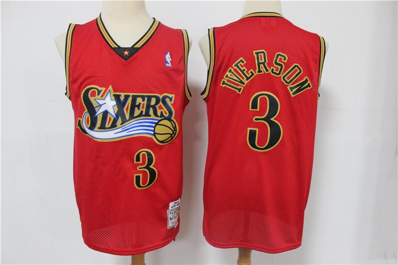 76ers 3 Allen Iverson Red 1999-00 Hardwood Classics Reload Swingman Jersey