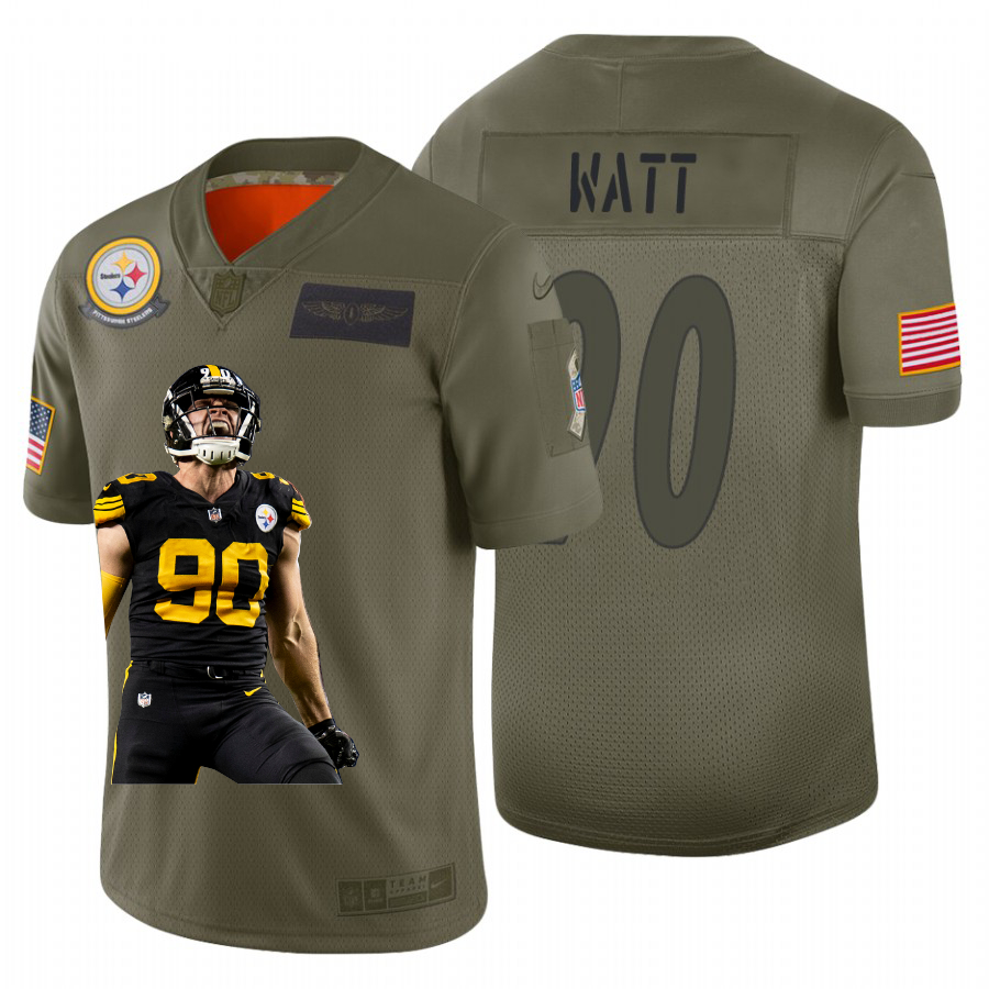 Nike Steelers 90 T.J. Watt Olive Player Name Logo Season Limited Jersey