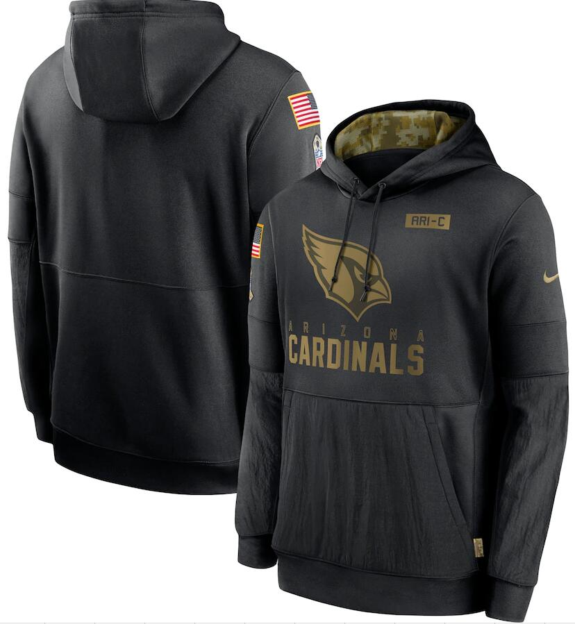 Men's Arizona Cardinals Nike Black 2020 Salute to Service Sideline Performance Pullover Hoodie