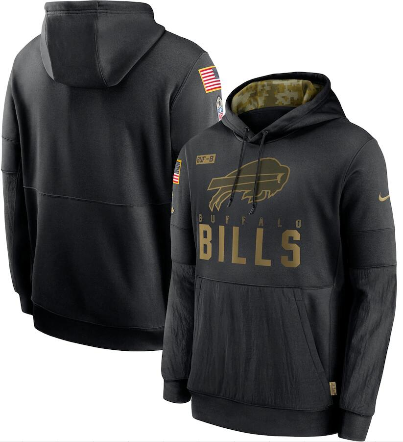 Men's Buffalo Bills Nike Black 2020 Salute to Service Sideline Performance Pullover Hoodie