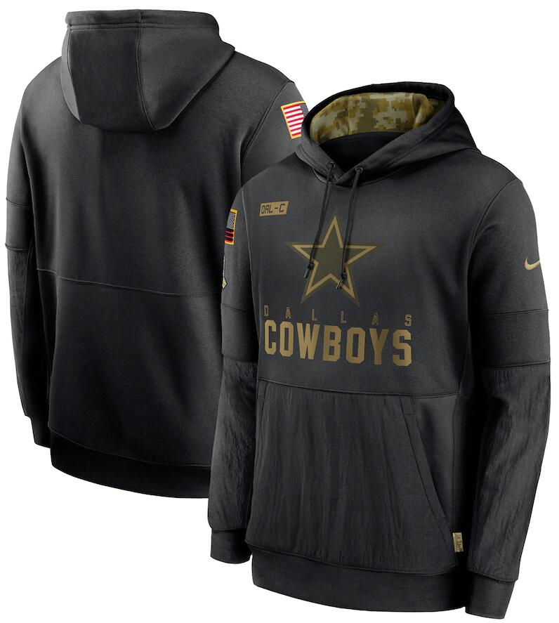 Men's Dallas Cowboys Nike Black 2020 Salute to Service Sideline Performance Pullover Hoodie