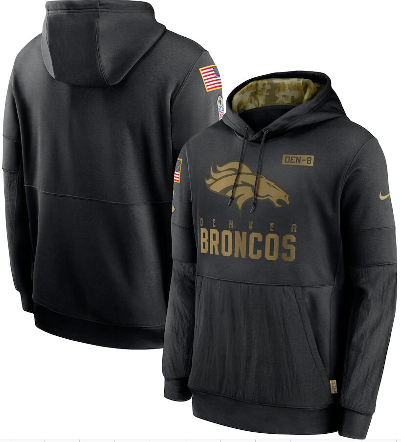 Men's Denver Broncos Nike Black 2020 Salute to Service Sideline Performance Pullover Hoodie