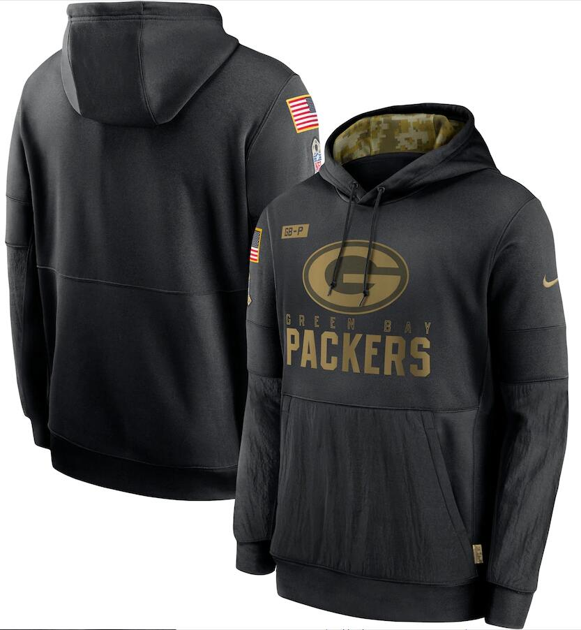 Men's Green Bay Packers Nike Black 2020 Salute to Service Sideline Performance Pullover Hoodie