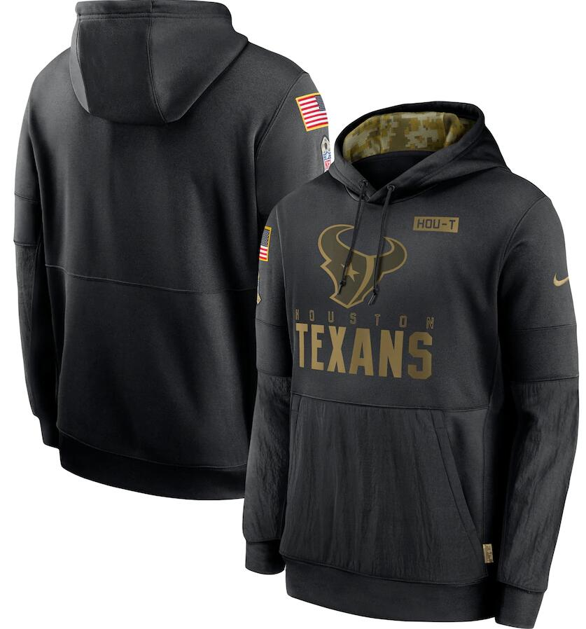 Men's Houston Texans Nike Black 2020 Salute to Service Sideline Performance Pullover Hoodie