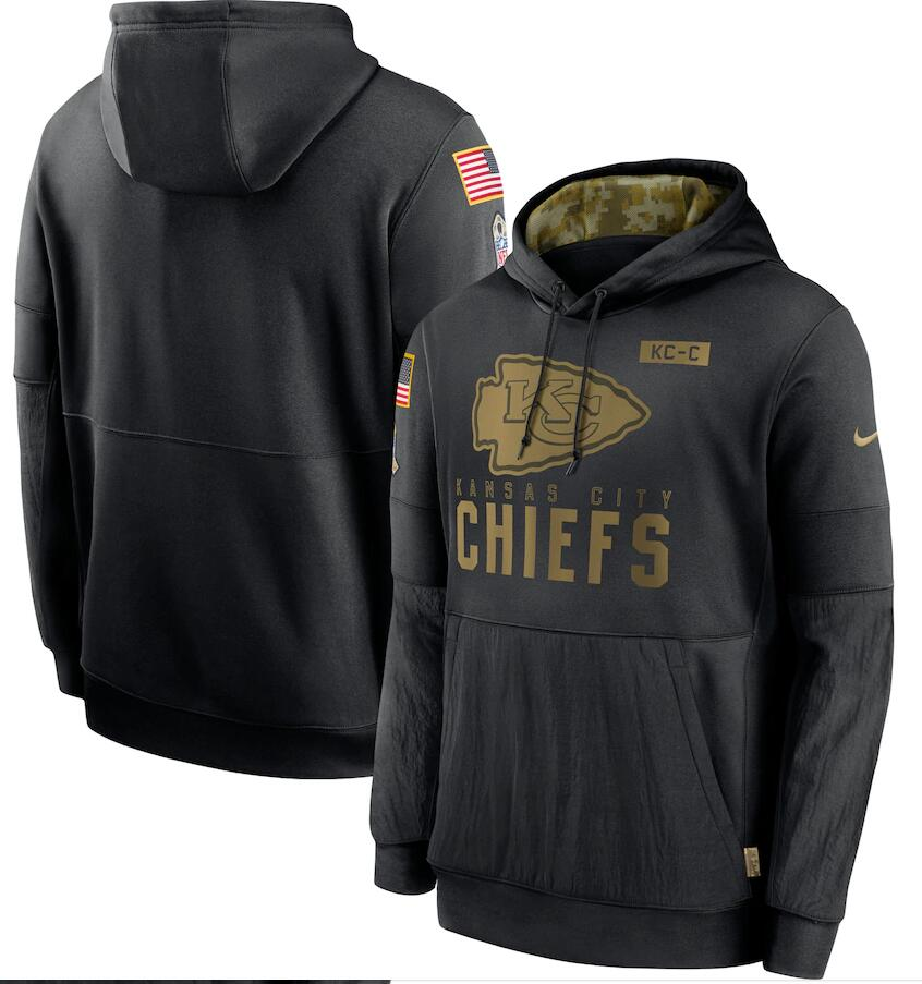 Men's Kansas City Chiefs Nike Black 2020 Salute to Service Sideline Performance Pullover Hoodie