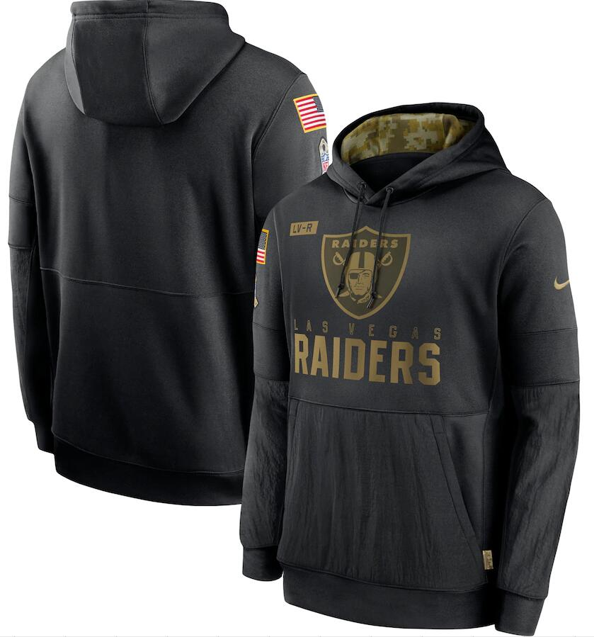 Men's Las Vegas Raiders Nike Black 2020 Salute to Service Sideline Performance Pullover Hoodie