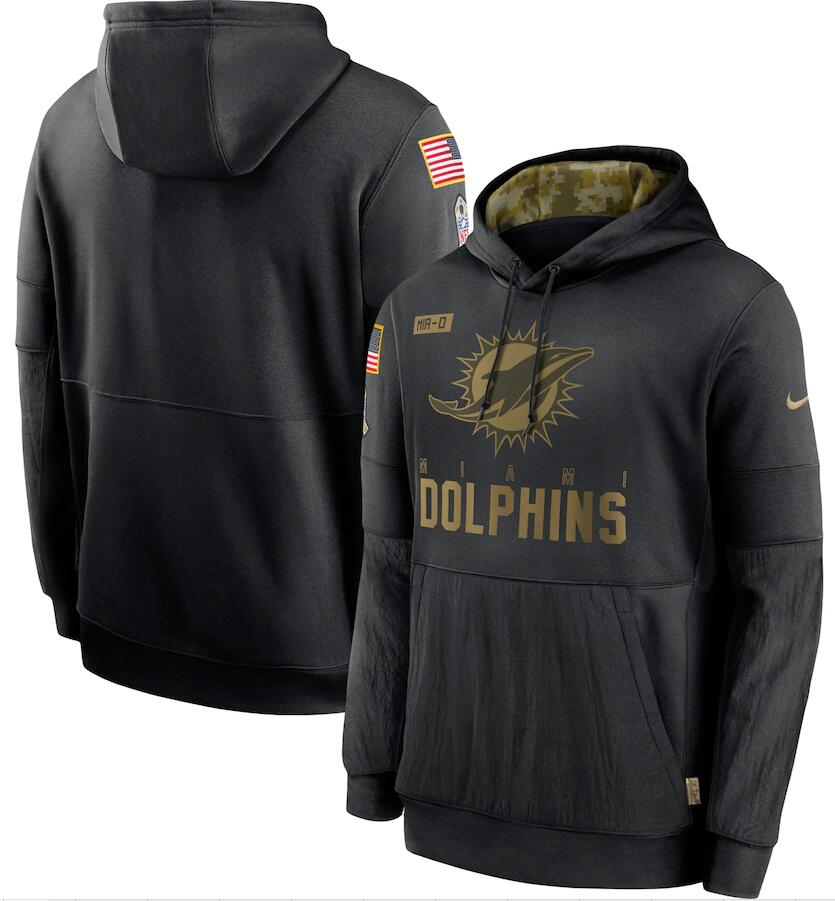 Men's Miami Dolphins Nike Black 2020 Salute to Service Sideline Performance Pullover Hoodie