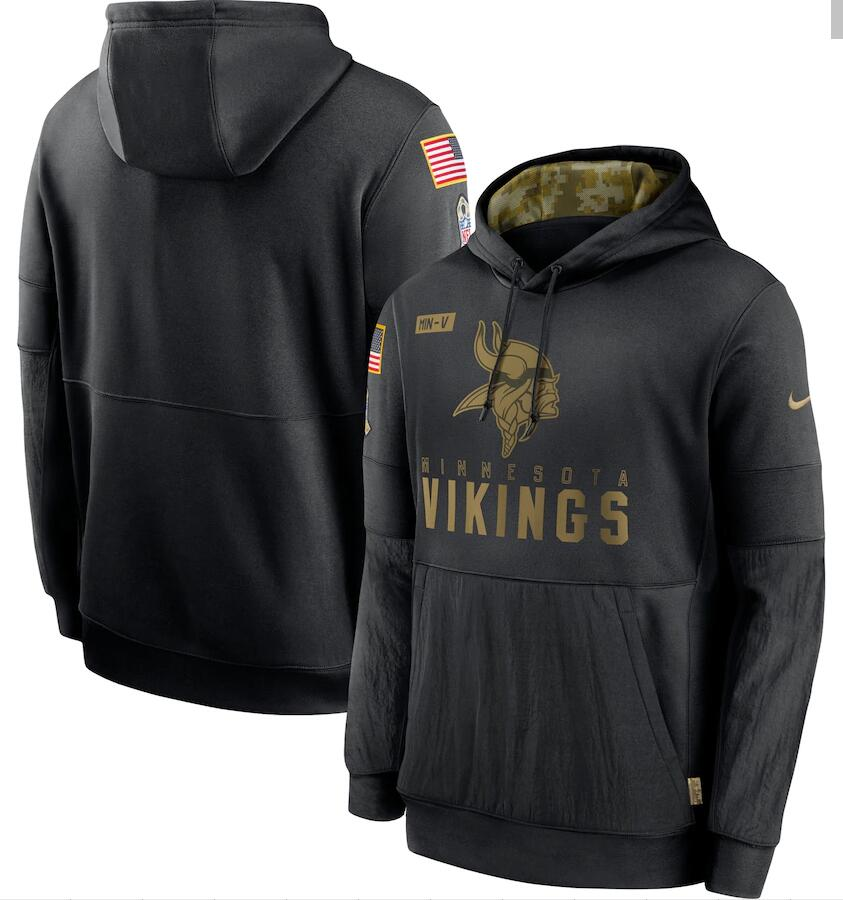 Men's Minnesota Vikings Nike Black 2020 Salute to Service Sideline Performance Pullover Hoodie