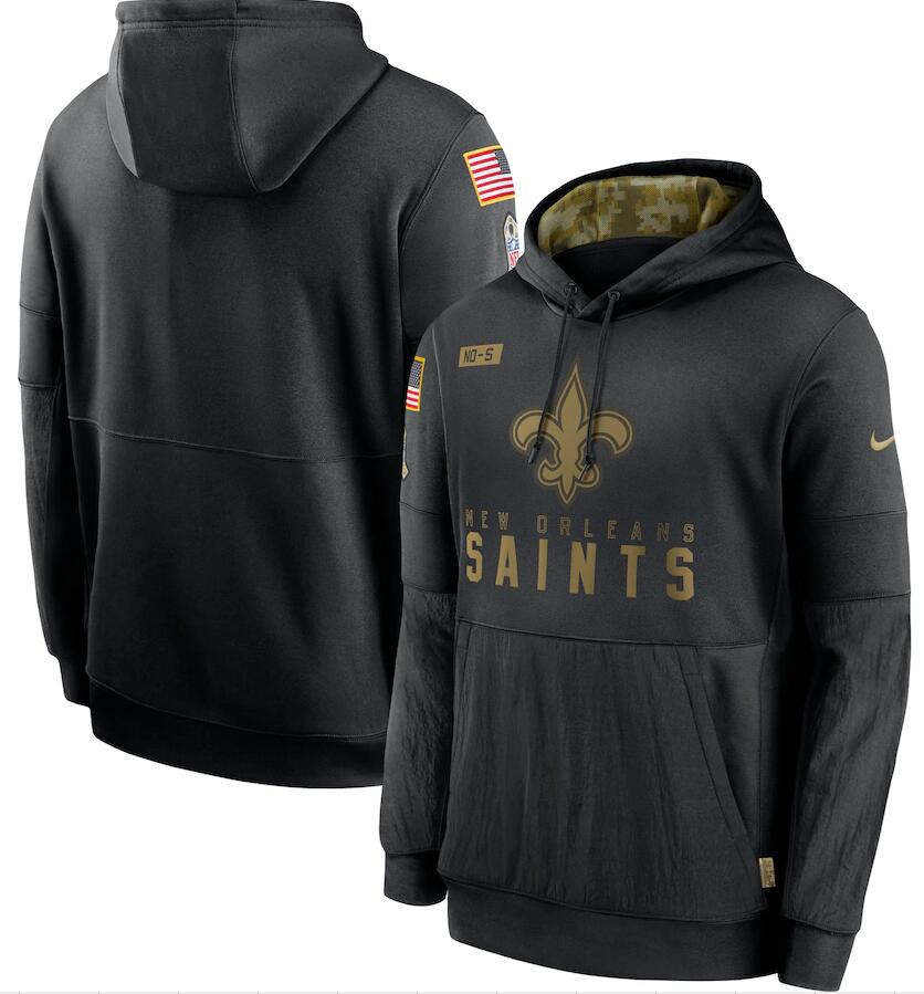Men's New Orleans Saints Nike Black 2020 Salute to Service Sideline Performance Pullover Hoodie