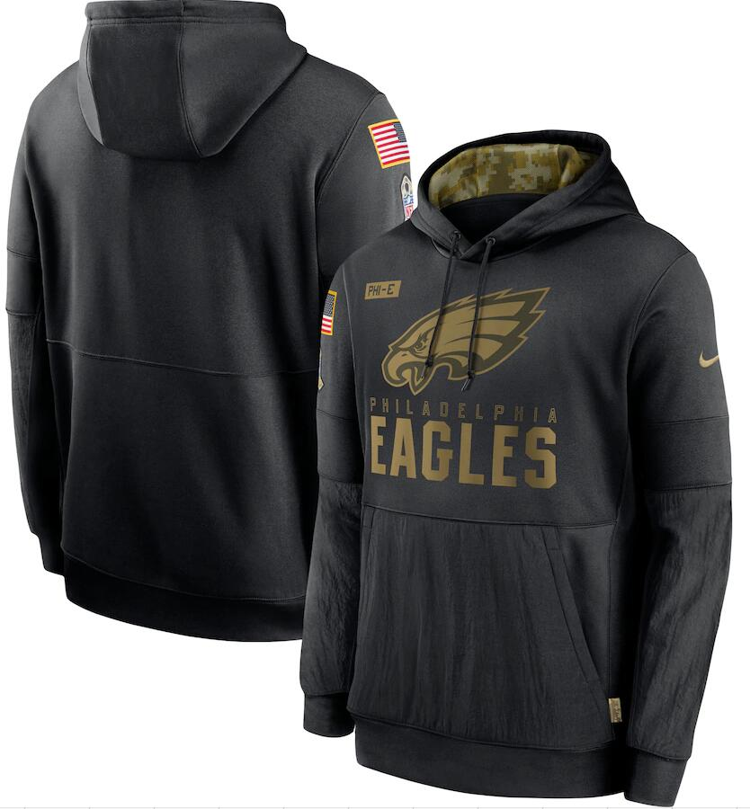 Men's Philadelphia Eagles Nike Black 2020 Salute to Service Sideline Performance Pullover Hoodie