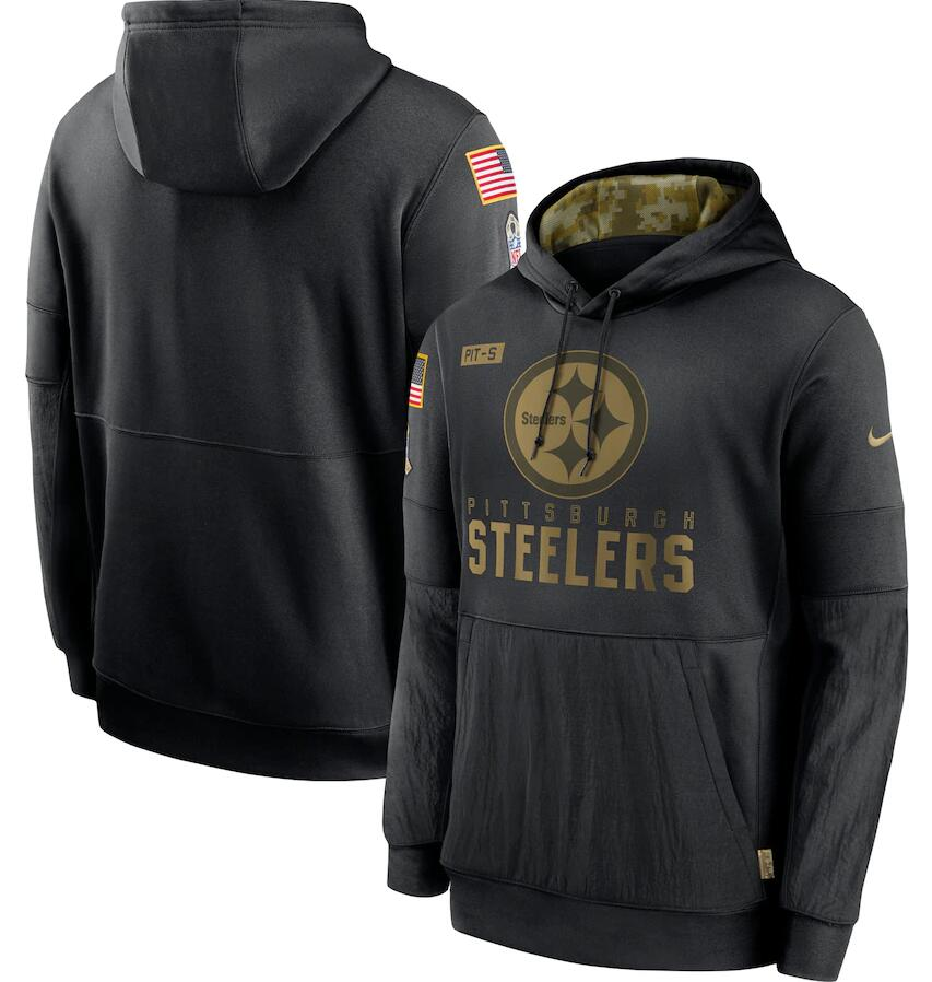 Men's Pittsburgh Steelers Nike Black 2020 Salute to Service Sideline Performance Pullover Hoodie