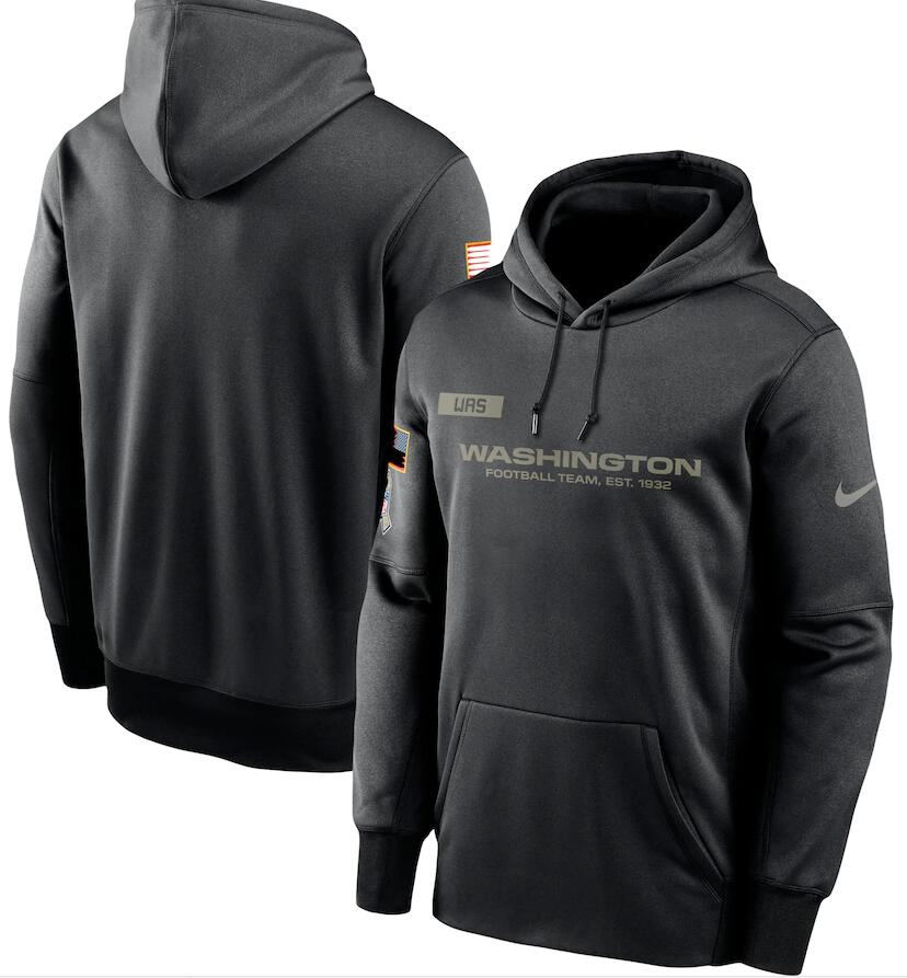 Men's Washington Football Team Nike Black 2020 Salute to Service Sideline Performance Pullover Hoodie