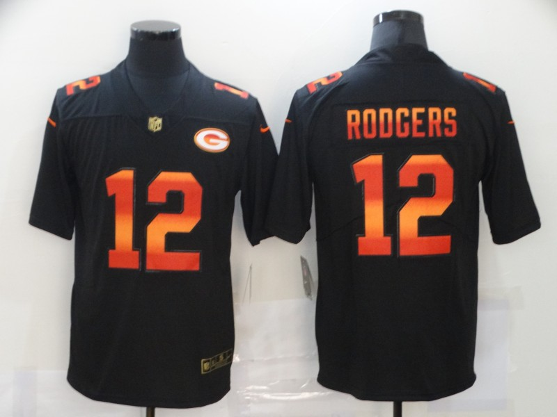 Nike Packers 12 Aaron Rodgers Black Colorful Fashion Limited Jersey