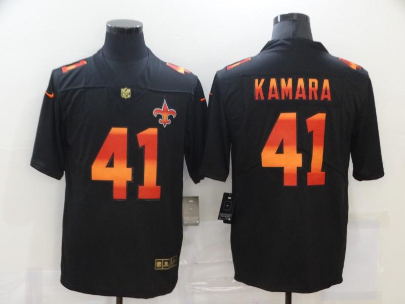 Nike Saints 41 Alvin Kamara Black Colorful Fashion Limited Jersey