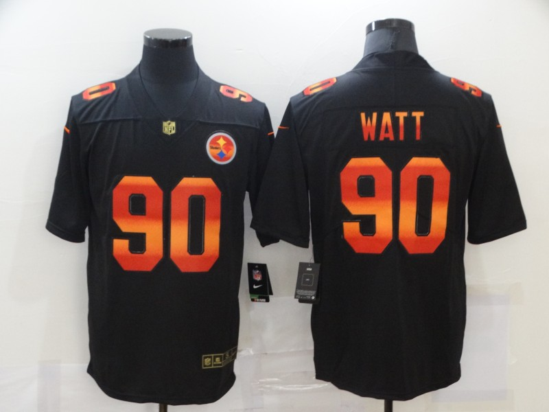 Nike Steelers 90 T.J. Watt Black Colorful Fashion Limited Jersey