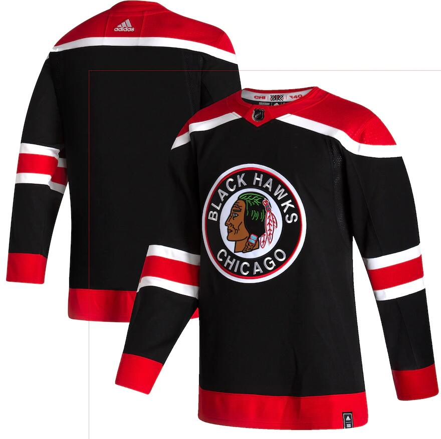 Blackhawks Blank Black 2020-21 Reverse Retro Adidas Jersey
