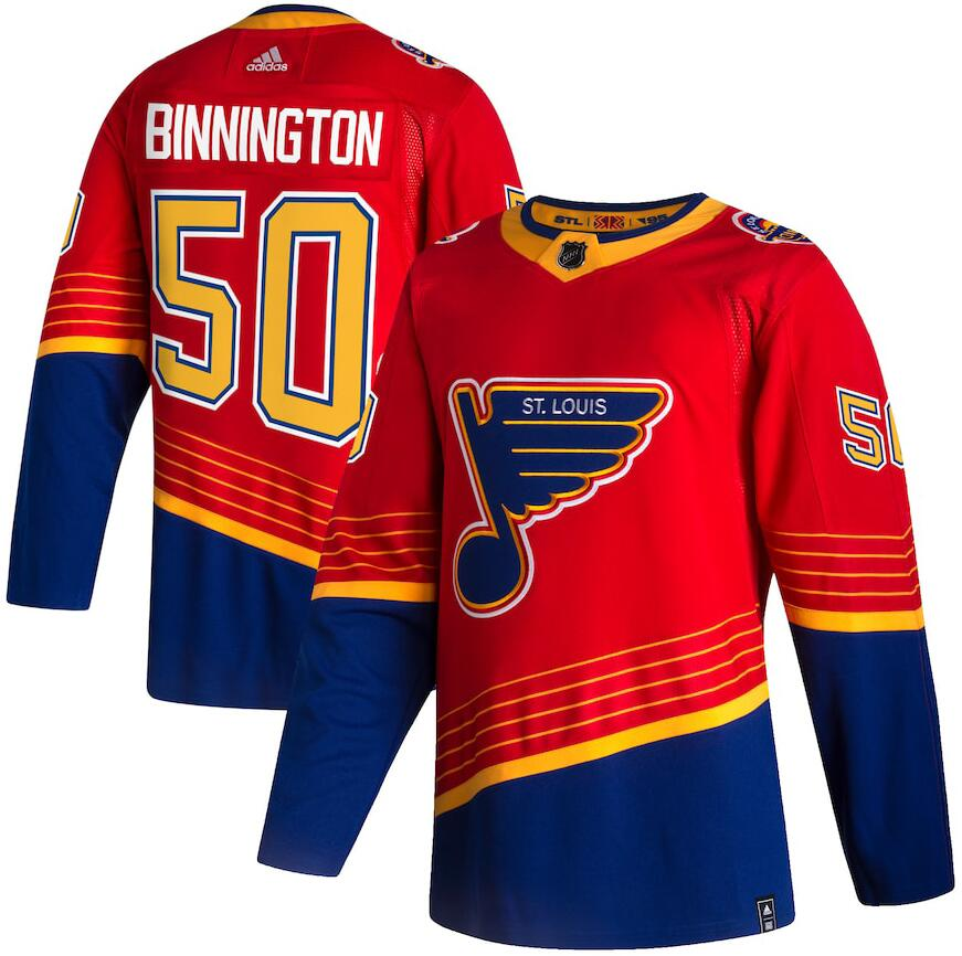Blues 50 Jordan Binnington Red 2020-21 Reverse Retro Adidas Jersey