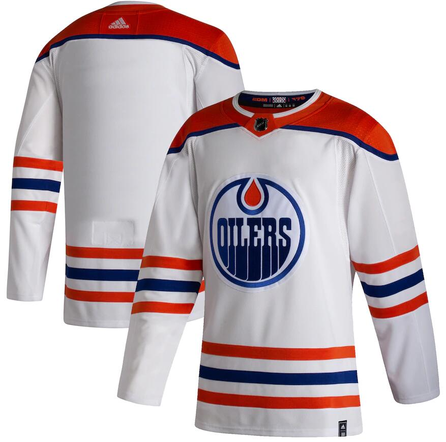 Oilers Blank White 2020-21 Reverse Retro Adidas Jersey