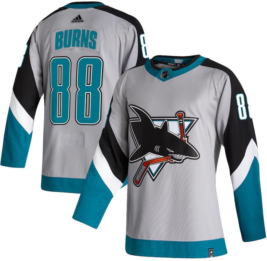 Sharks 88 Brent Burns Gray 2020-21 Reverse Retro Adidas Jersey