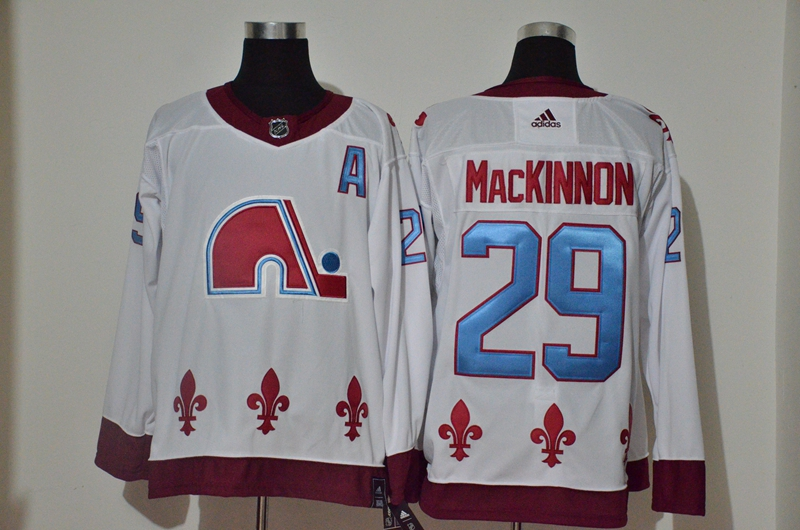 Avalanche 29 Nathan MacKinnon White 2020-21 Reverse Retro Adidas Jersey