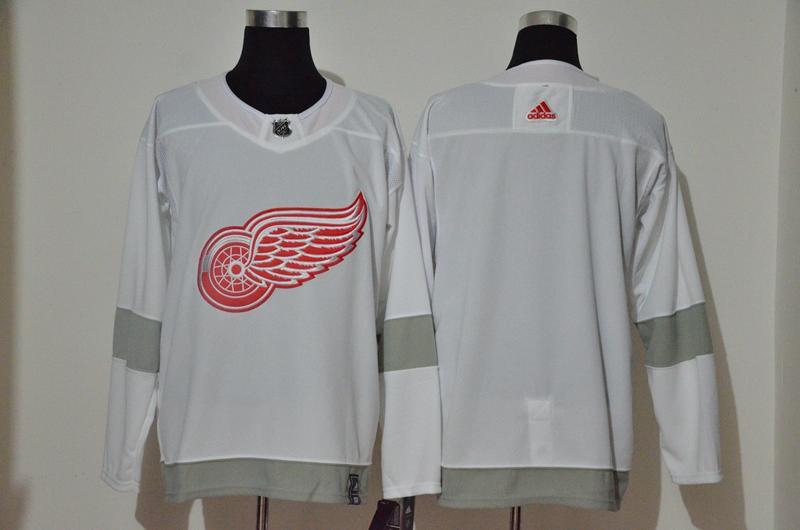 Red Wings Blank White 2020-21 Reverse Retro Adidas Jersey