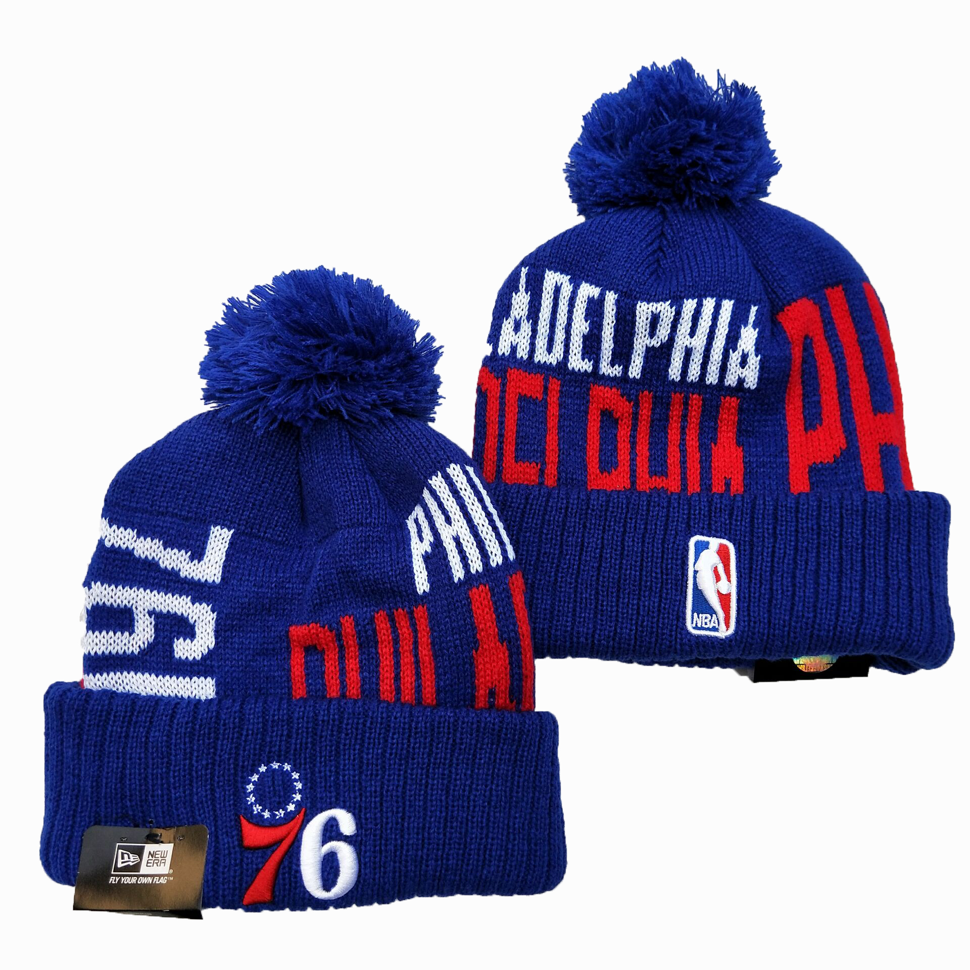 76ers Team Logo Blue Pom Knit Hat YD