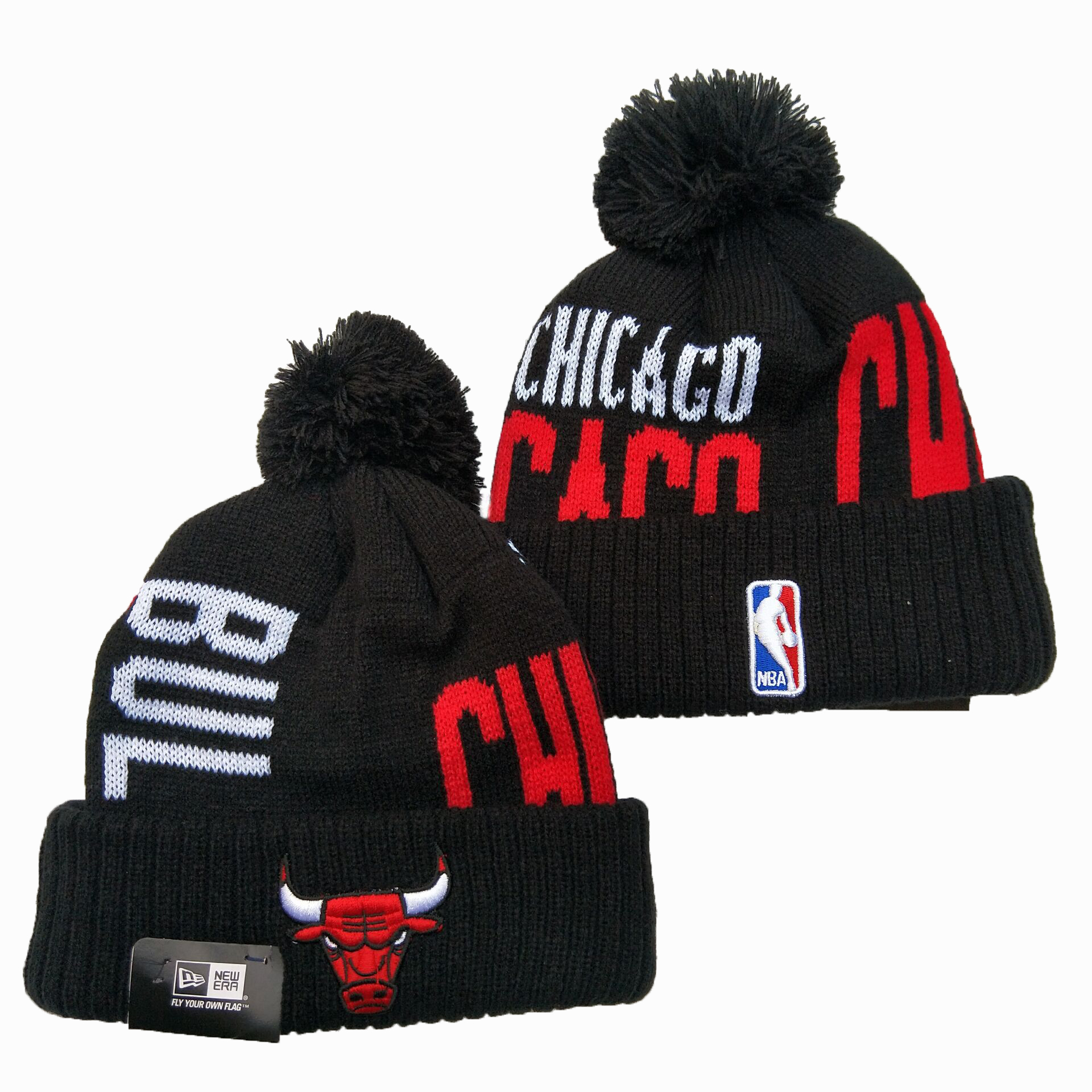 Bulls Team Logo Black Pom Knit Hat YD