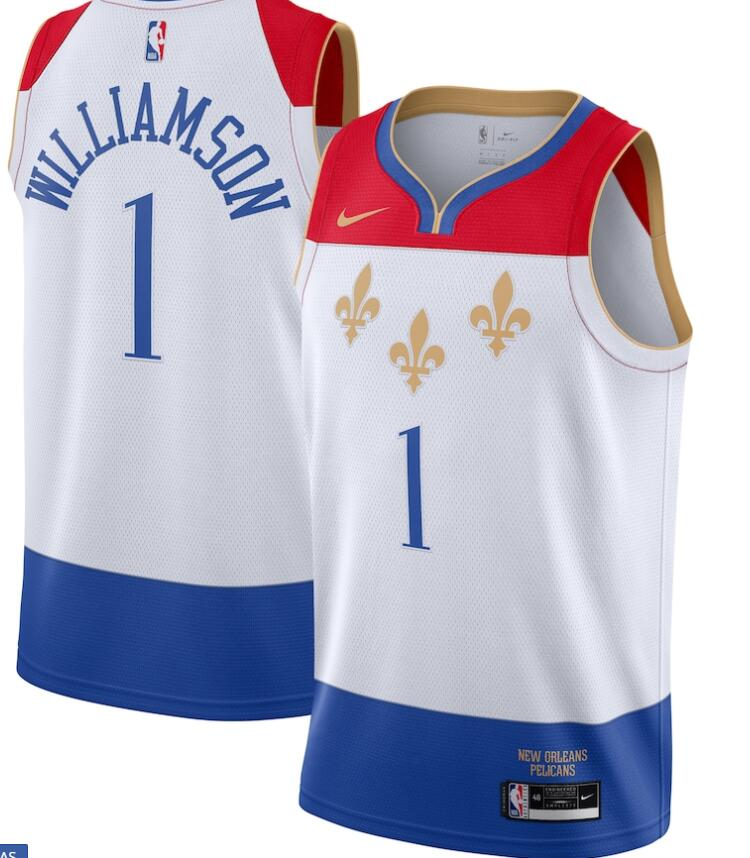 Pelicans 1 Zion Williamson White 2020-21 City Edition Nike Swingman Jersey