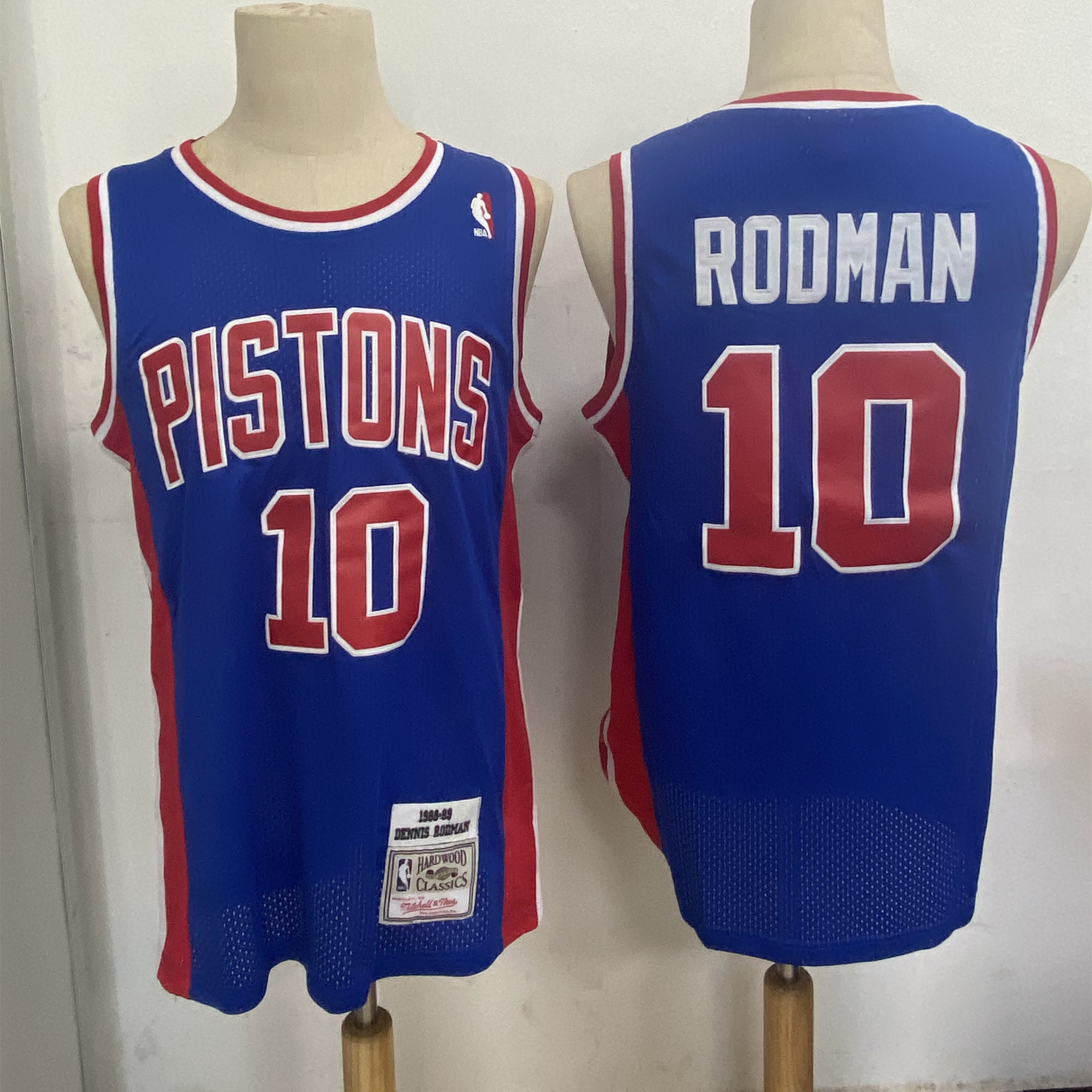 Pistons 10 Dennis Rodman Blue 1988-89 Hardwood Classics Jersey