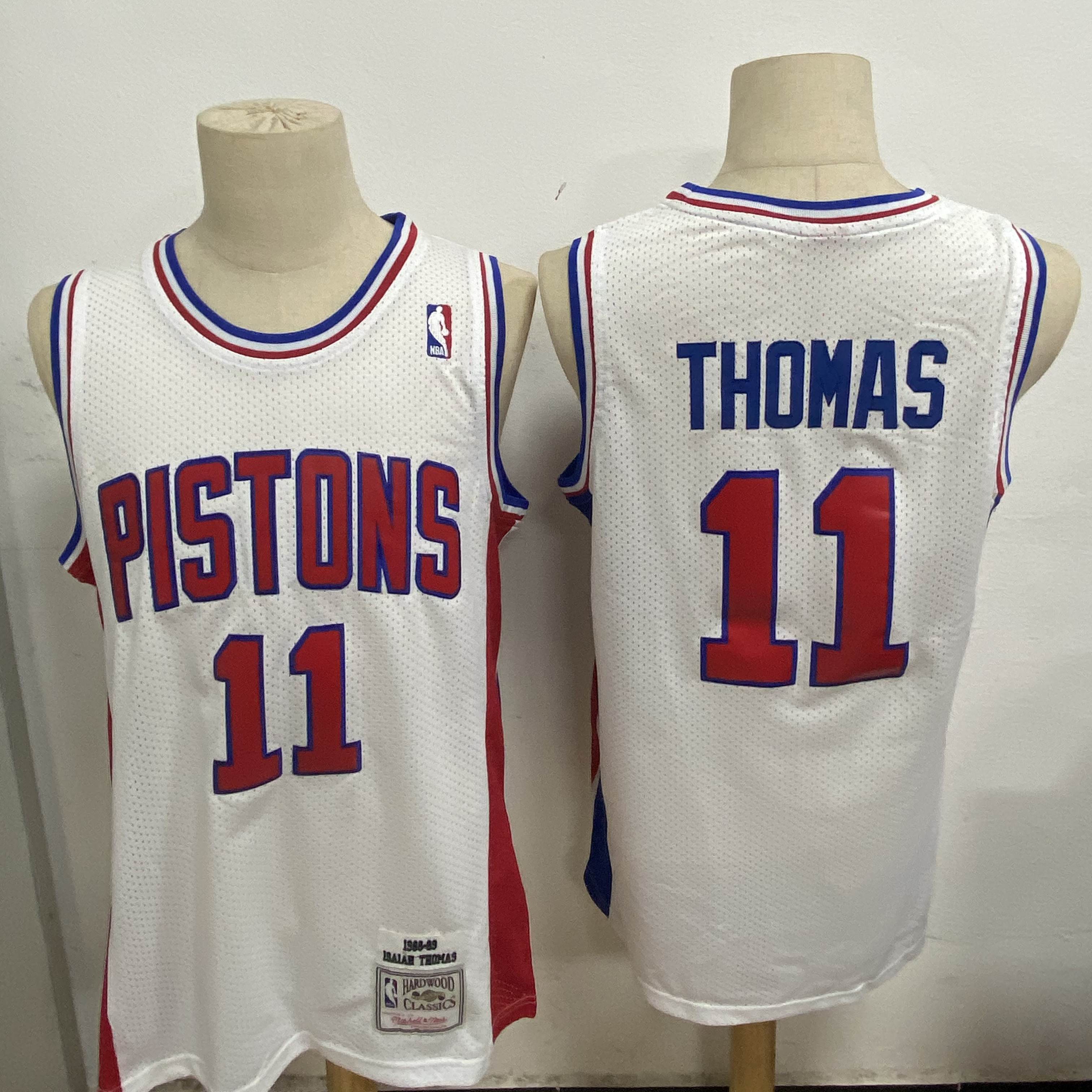 Pistons 11 Isiah Thomas White 1988-89 Hardwood Classics Jersey