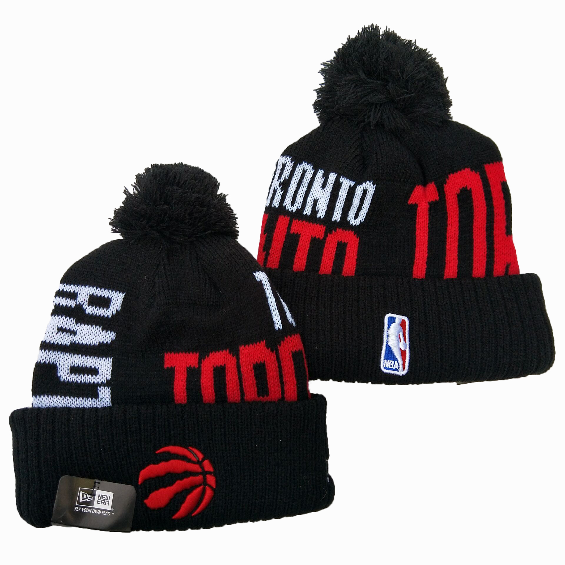 Raptors Team Logo Black Pom Knit Hat YD