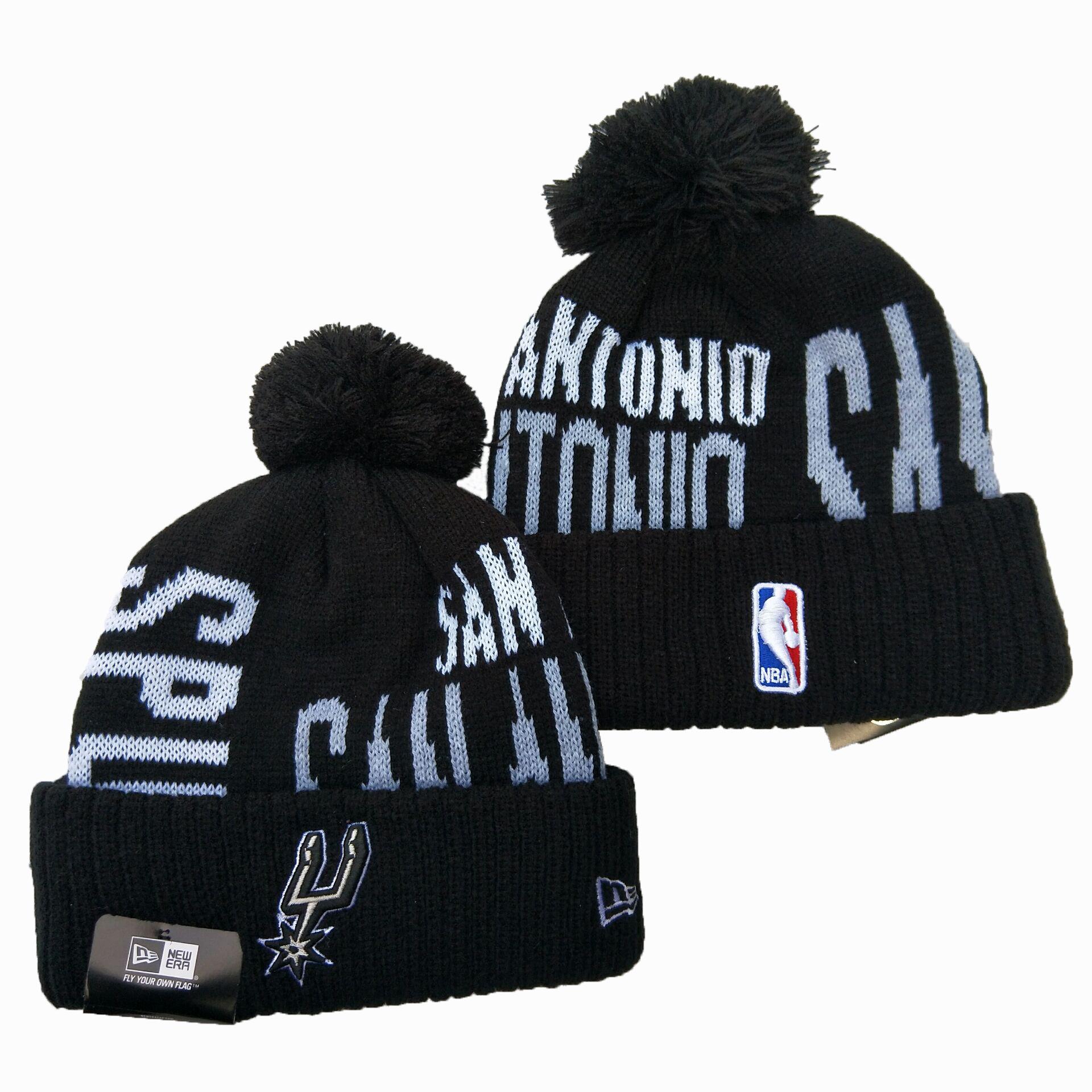 Spurs Team Logo Black Pom Knit Hat YD