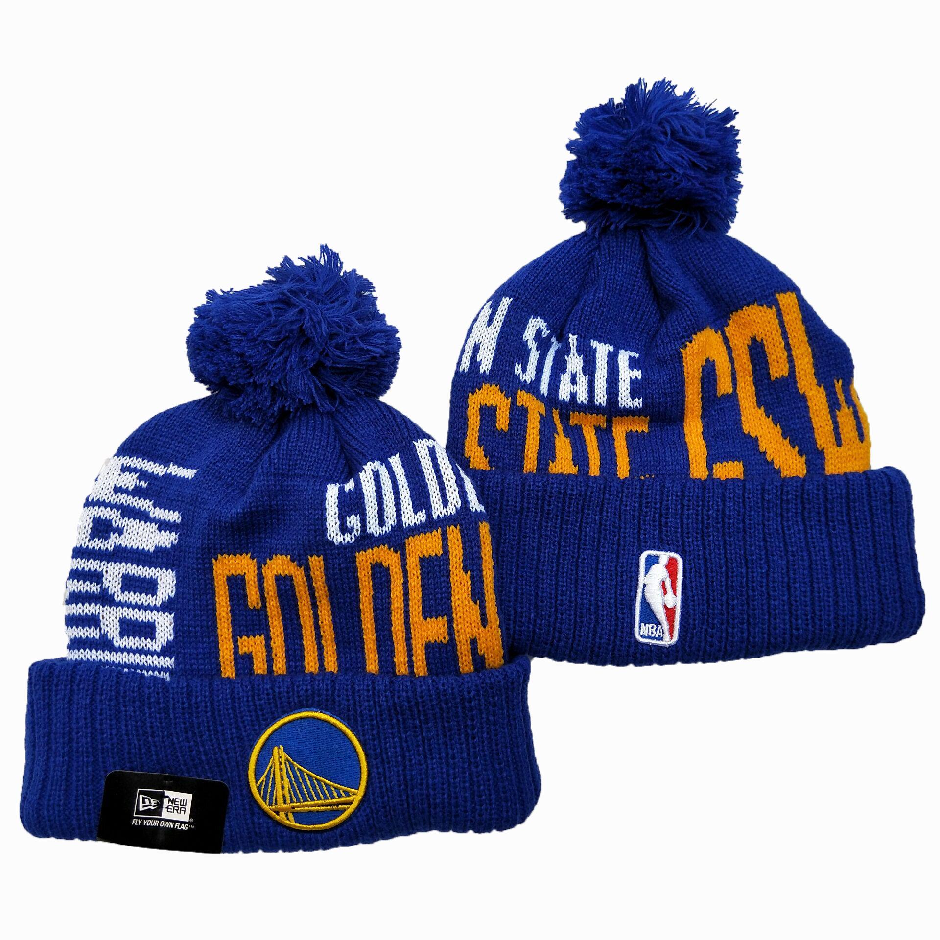 Warriors Team Logo Blue Pom Knit Hat YD