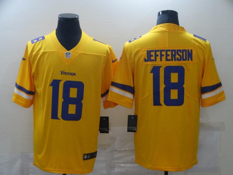 Nike Vikings 18 Justin Jefferson Yellow Inverted Legend Limited Jersey