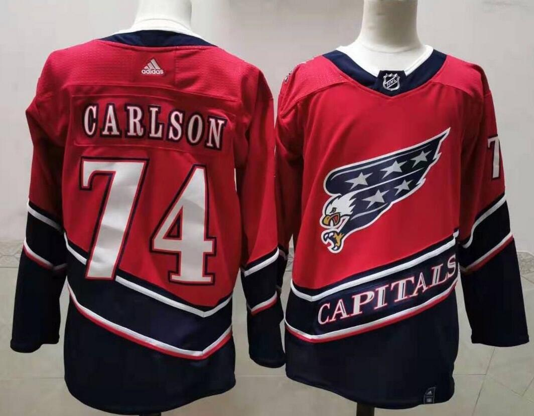 Capitals 74 John Carlson Red 2020-21 Reverse Retro Adidas Jersey