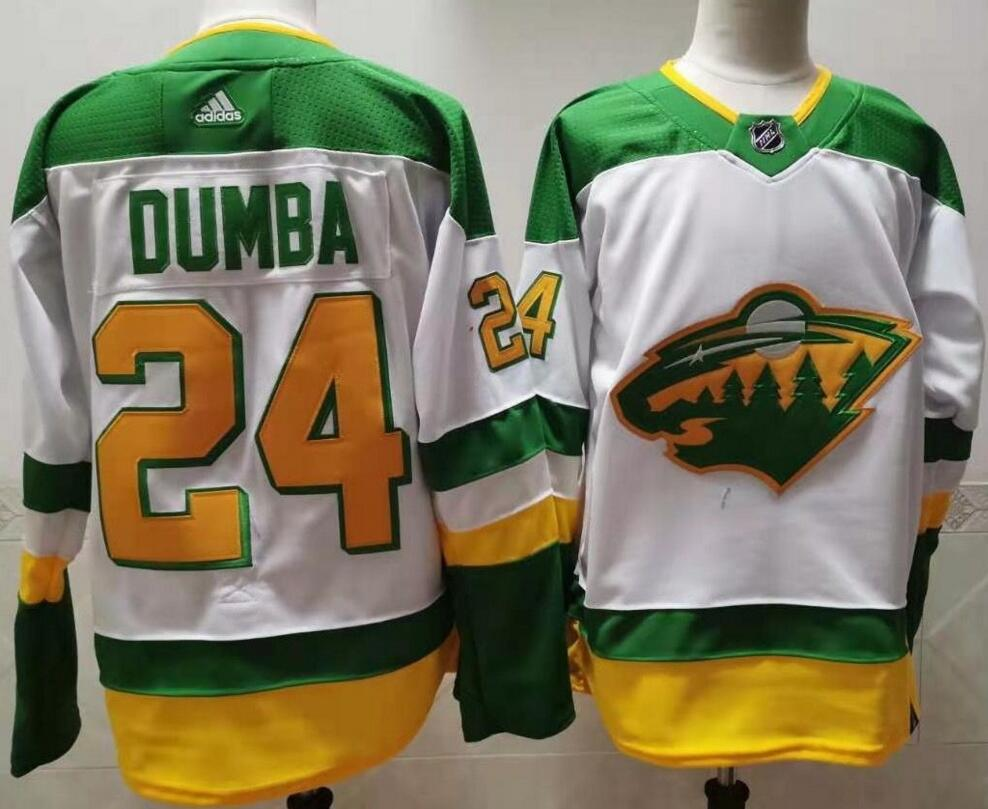 Wild 24 Matt Dumba White 2020-21 Reverse Retro Adidas Jersey