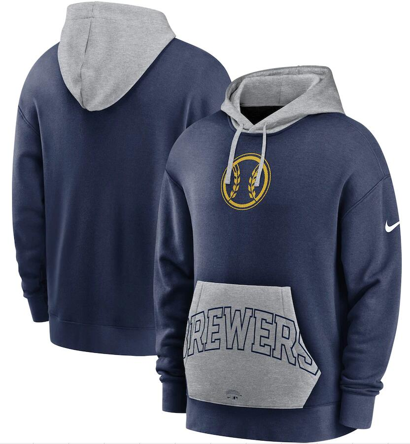 Men's Milwaukee Brewers Nike Navy Gray Heritage Tri Blend Pullover Hoodie