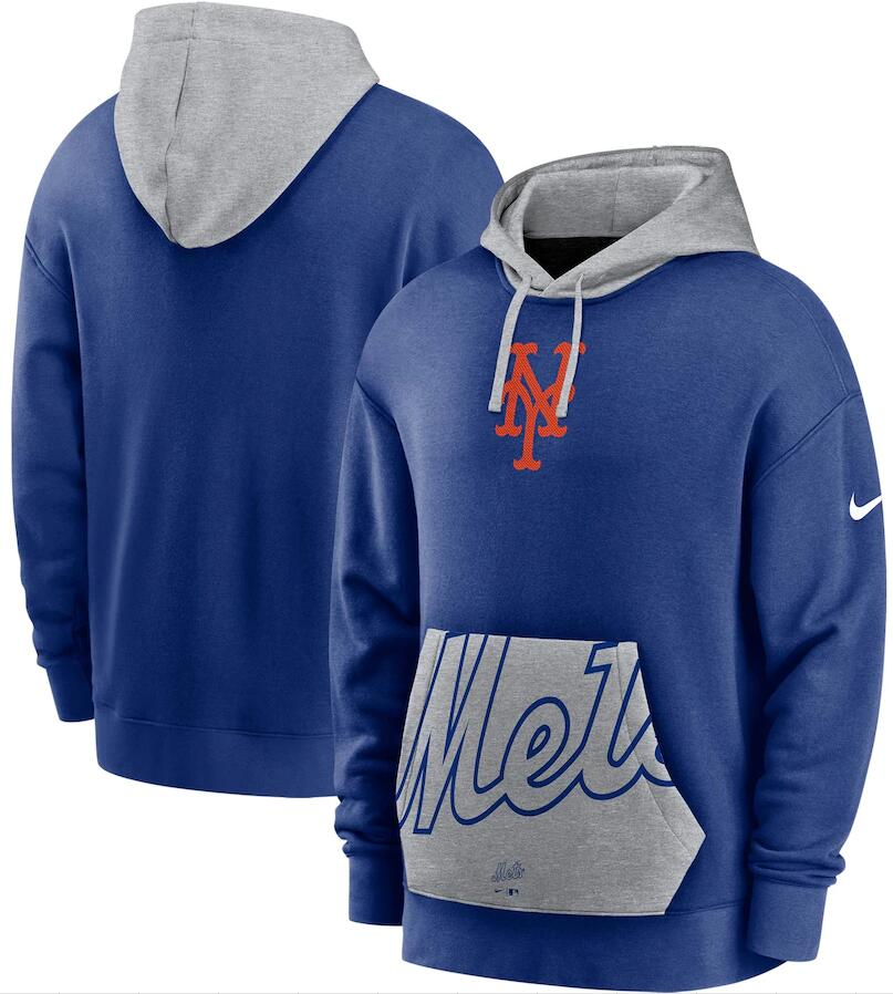 Men's New York Mets Nike Royal Gray Heritage Tri Blend Pullover Hoodie