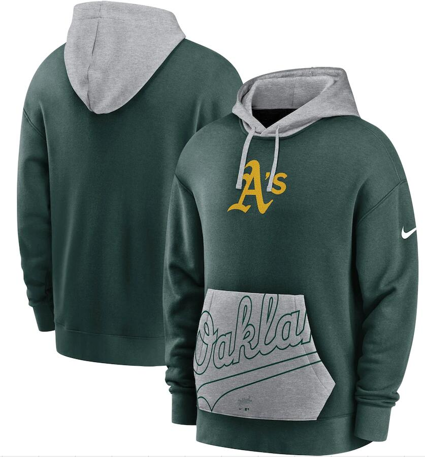 Men's Oakland Athletics Nike Green Gray Heritage Tri Blend Pullover Hoodie