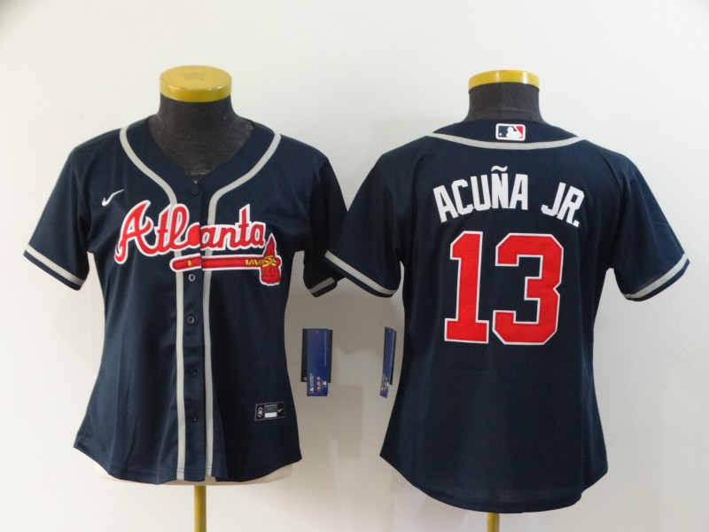 Braves 13 Ronald Acuna Jr. Nave Women 2020 Nike Cool Base Jersey