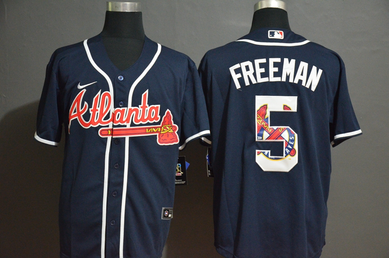 Braves 5 Freddie Freeman Nave 2020 Nike Cool Base Fashion Jersey