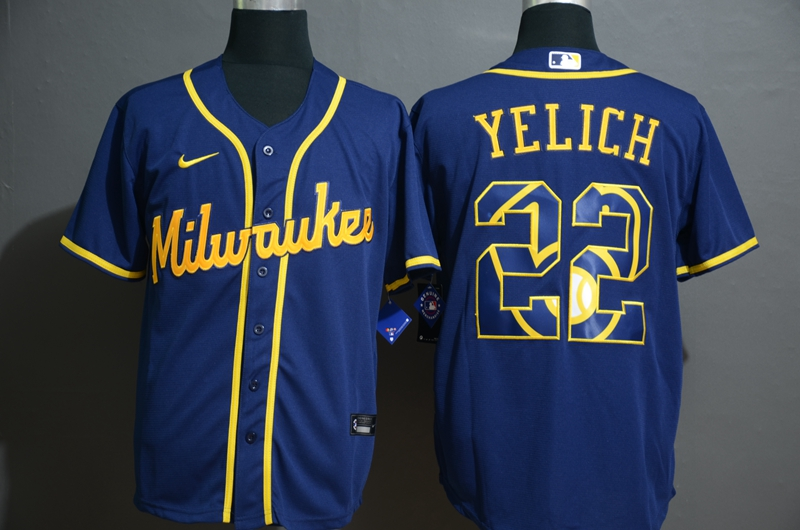 Brewers 22 Christian Yelich Royal 2020 Nike Cool Base Fashion Jersey