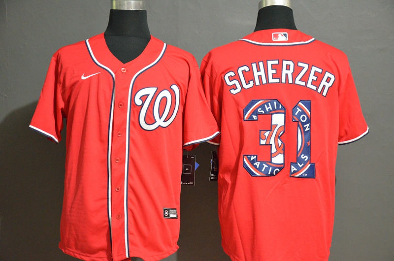Nationals 31 Max Scherzer Red 2020 Nike Cool Base Fashion Jersey