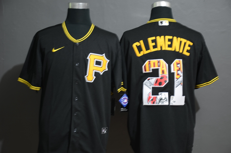 Pirates 21 Roberto Clemente Black 2020 Nike Cool Base Fashion Jersey