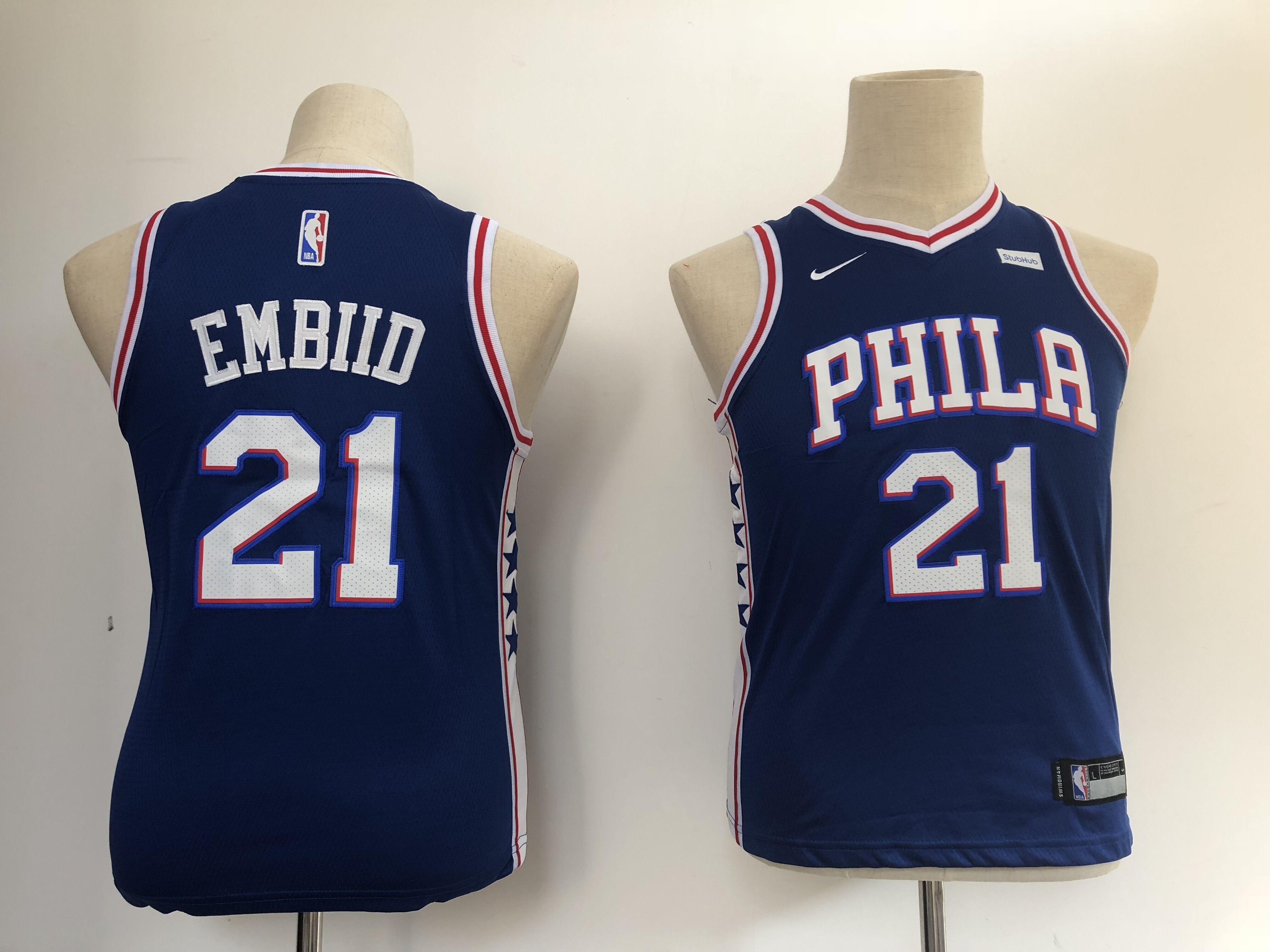 76ers 21 Joel Embiid Blue Youth Nike Swingman Jersey