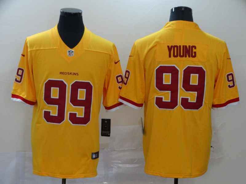 Nike Redskins 99 Chase Young Yellow 2020 NFL Draft First Round Pick Vapor Untouchable Limited Jersey